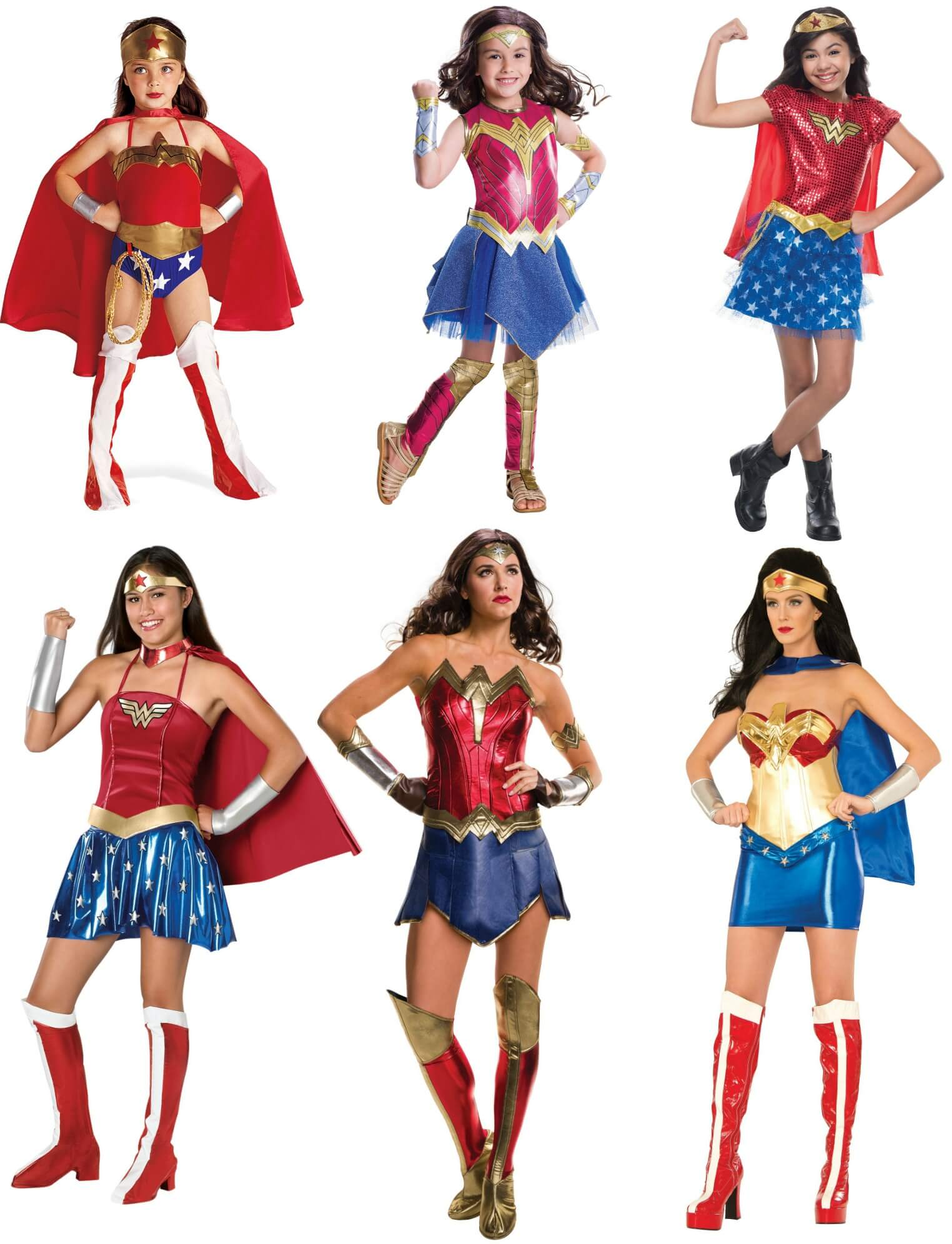 All ages Wonder Woman costumes