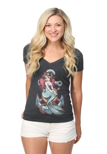 THE LITTLE MERMAID ARIEL ANCHOR JUNIORS V-NECK TEE