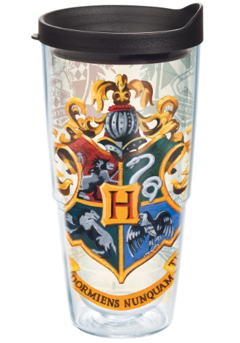 HARRY POTTER HOGWARTS HOUSE CRESTS 24 OZ TUMBLER W/ BLACK LID