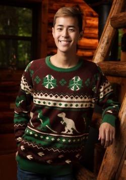 Mens Holiday Dinosaur Ugly Christmas Sweater