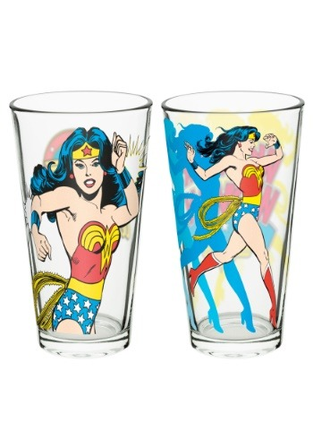 WONDER WOMAN 16 OZ GLASS 2 PACK