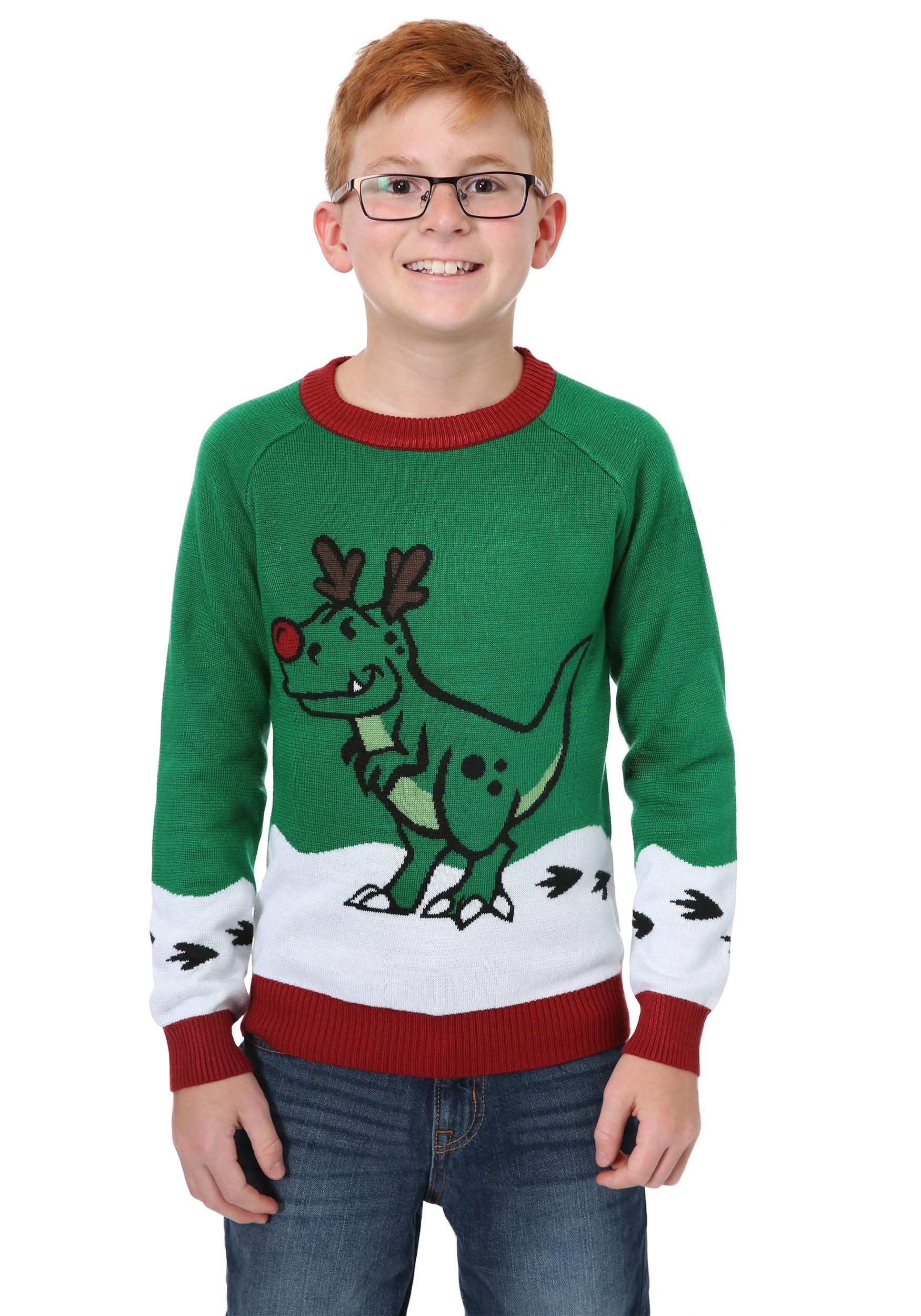 Boys Reindeer Dinosaur Ugly Christmas Sweater