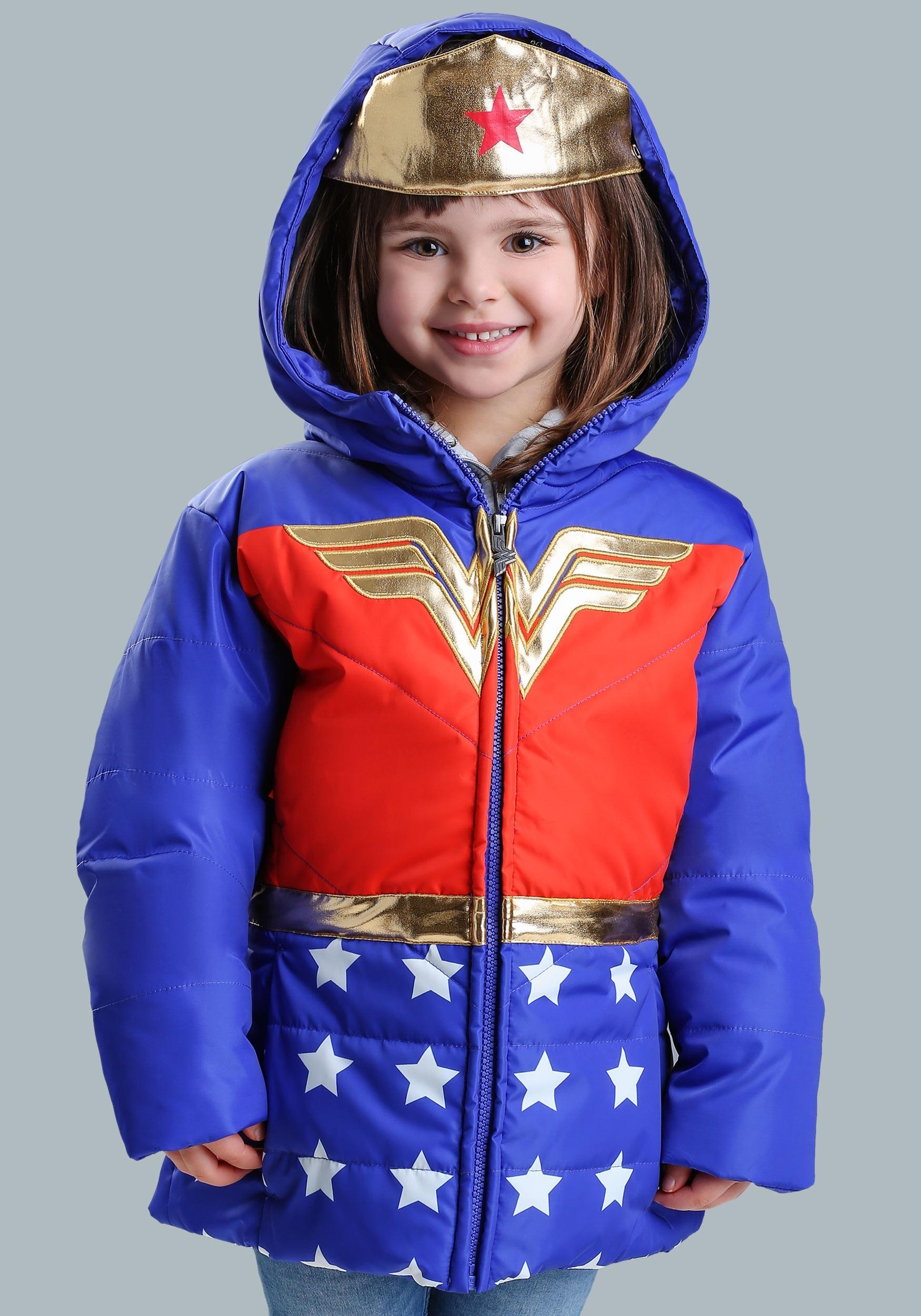 DC Comics Wonder Woman Girls Puffer Coat