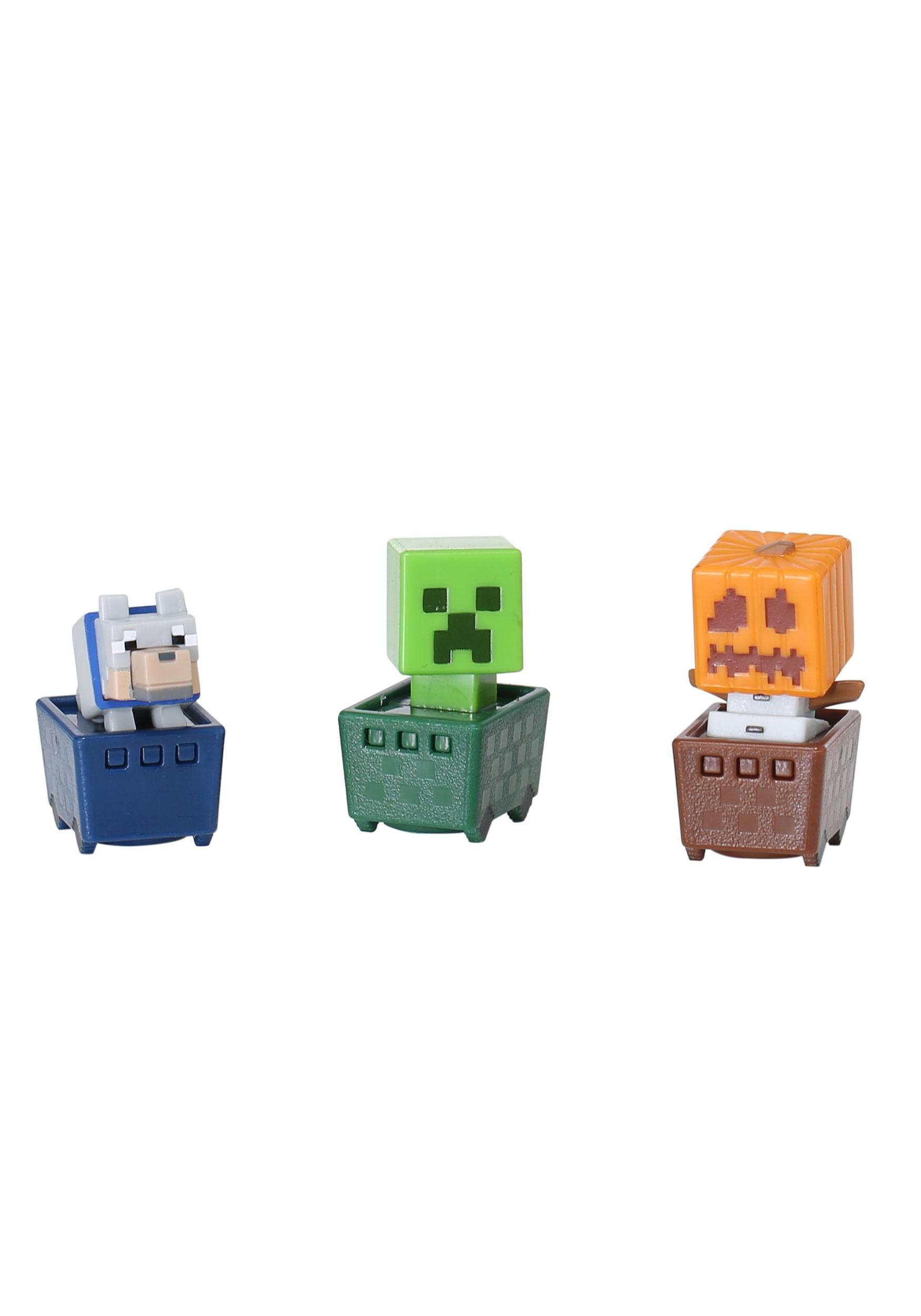 Minecraft Snow Golem, Creeper, Wolf 3 Pack Figure Set