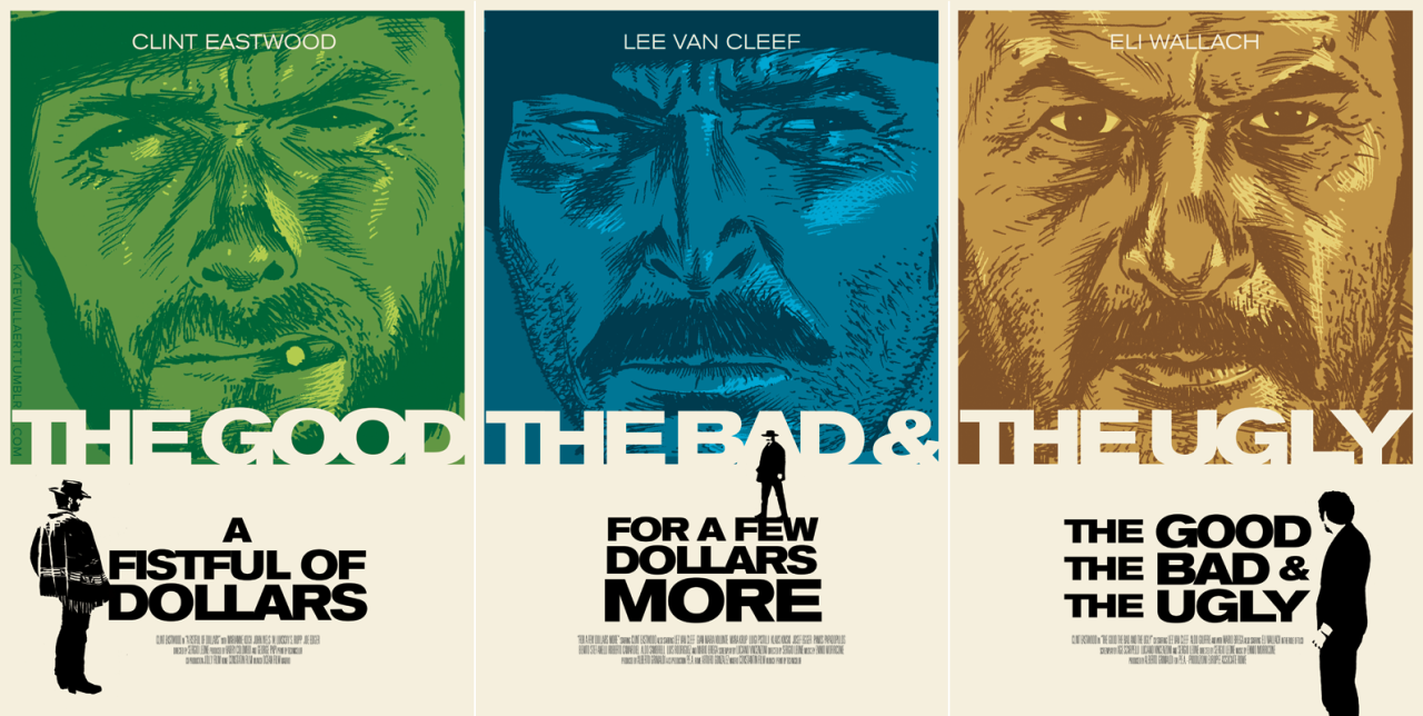 The Good, The Bad & The Ugly (50th Anniversary) poster by Kate Willaert