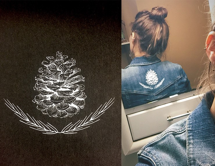 Pine cone design and print by Amanda Anez