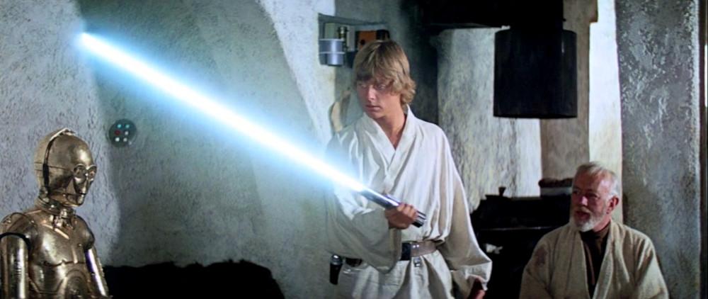 Anakin Skywalker, Luke Skywalker, and Rey's Blue Lightsaber
