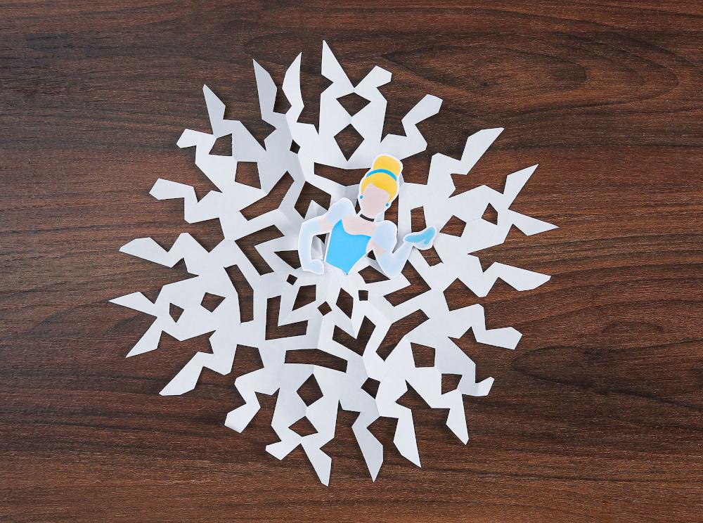 DIY Disney Paper Princess Snowflakes Step Five