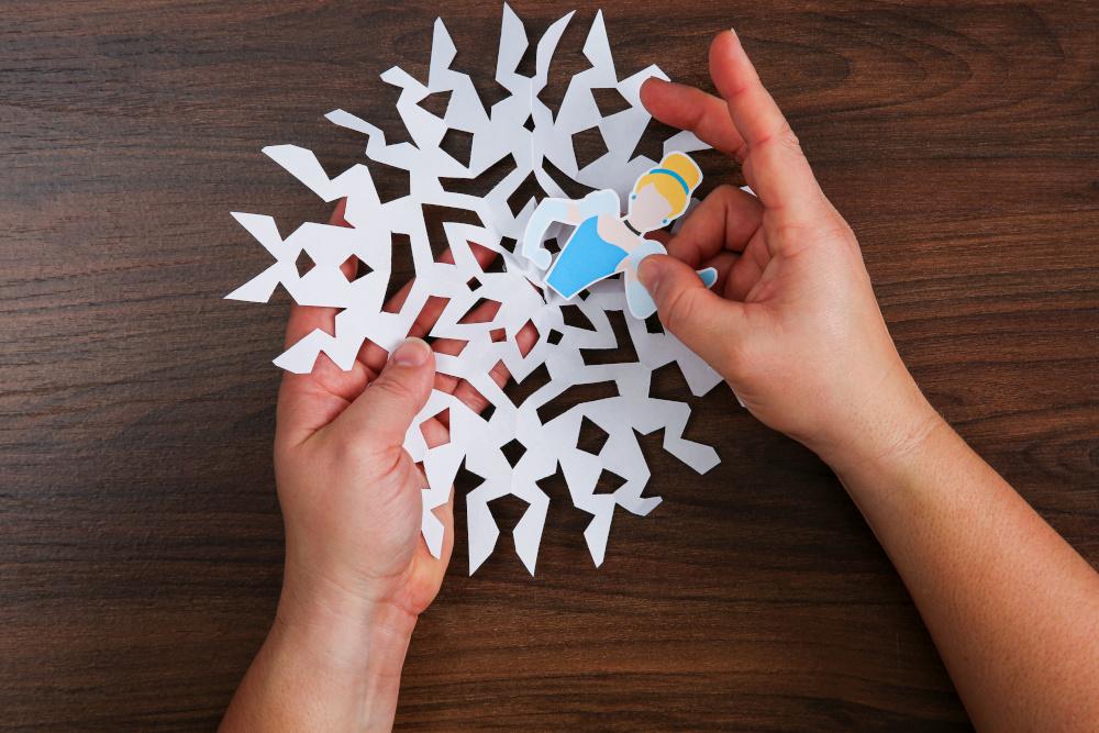 DIY Disney Paper Princess Snowflakes Step Four