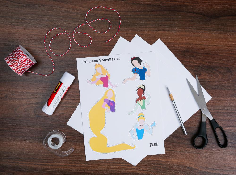 DIY Disney Paper Princess Snowflakes Supplies