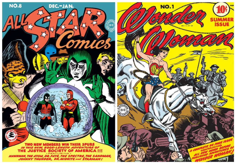 All Star Comics #8 (Dec 1941/Jan 1942) and Wonder Woman #1 (Summer 1942)