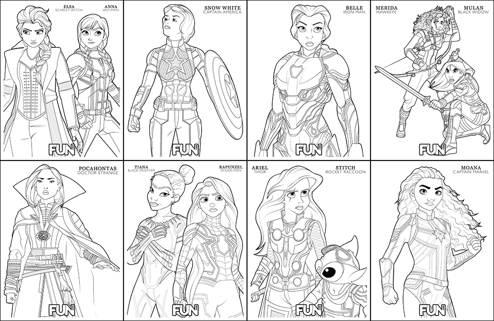 Disney and Avengers Coloring Pages