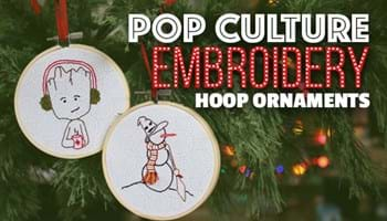 Pop Culture Hoop Embroidery Ornaments