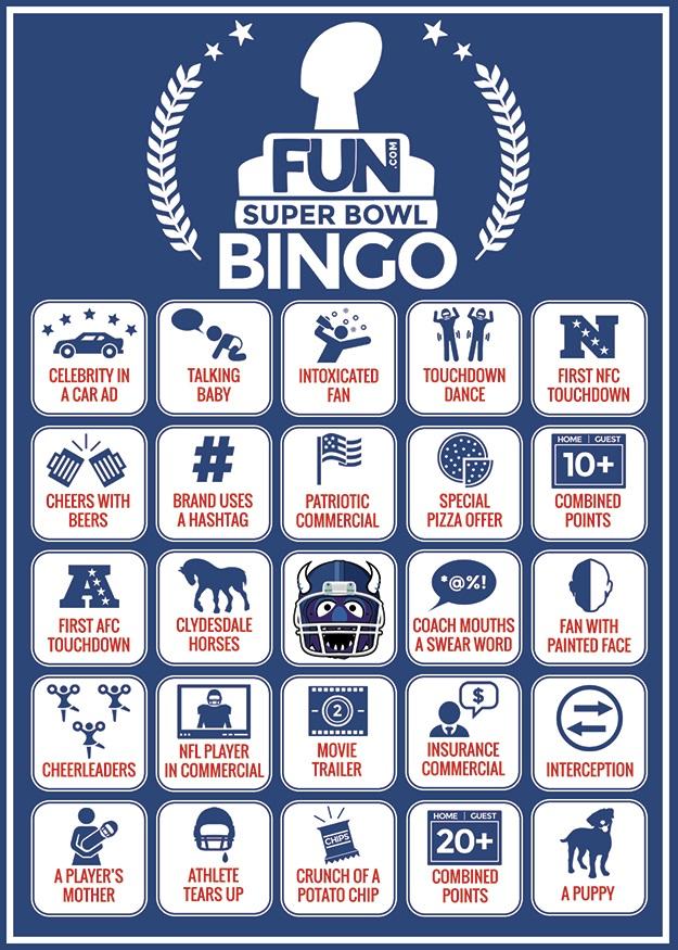 Printable Super Bowl Bingo Card