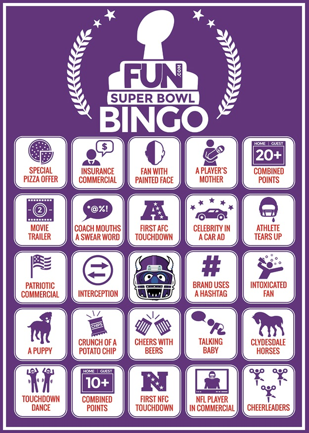 Bingo Card for the 2015 Super Bowl