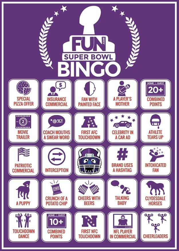 Bingo Card for the 2015 Super Bowl