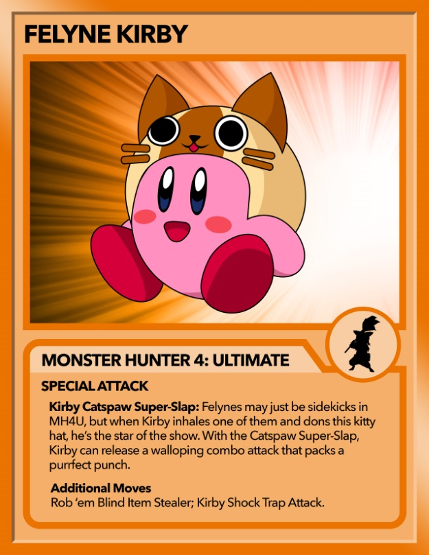 Kirby as Felyne from Monster Hunter
