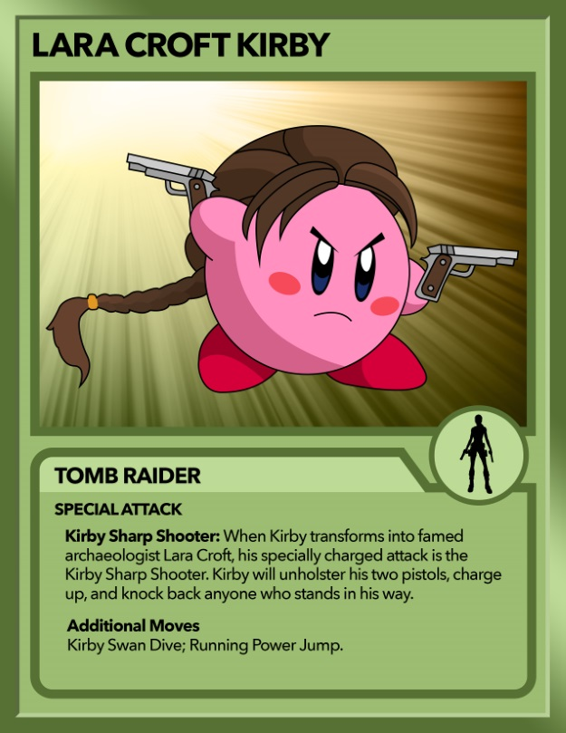 Kirby as Lara Croft from Tomb Raider