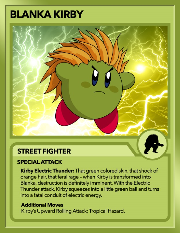 Kirby as Blanka from Street Fighter