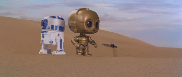 C3P0 and R2D2 POP Vinyl Photobomb