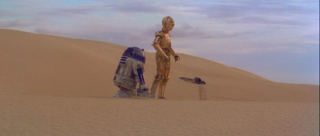 C3P0 and R2D2 Star Wars film still