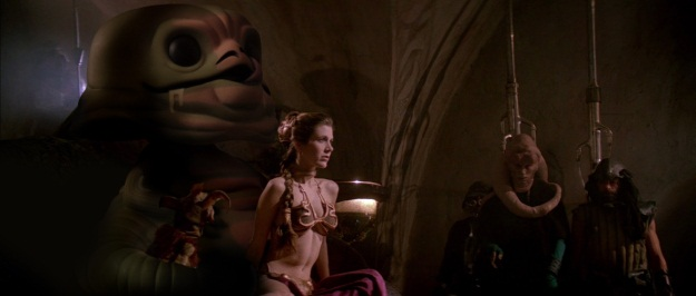 Jabba the Hutt and Slave leia Pop Vinyl Photobomb