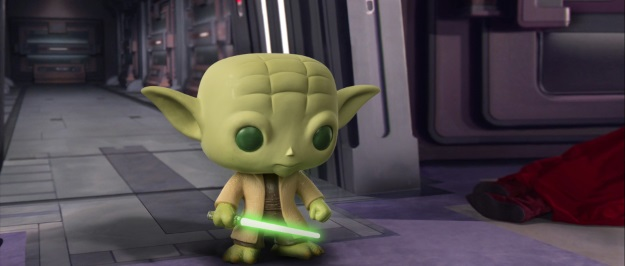 Yoda Pop Vinyl Photobomb