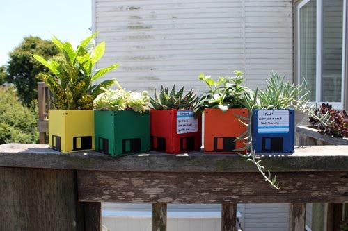 Floppy Disc Planters