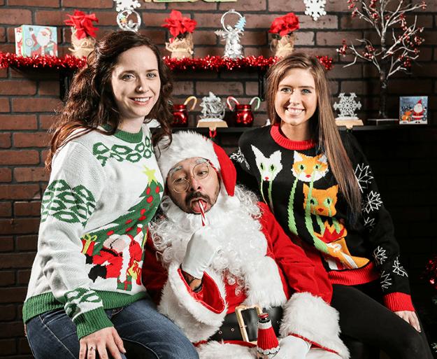 Funny Bad Santa Family Photo