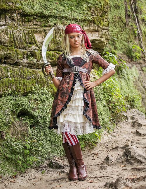 Girl's Brown Coat Pirate