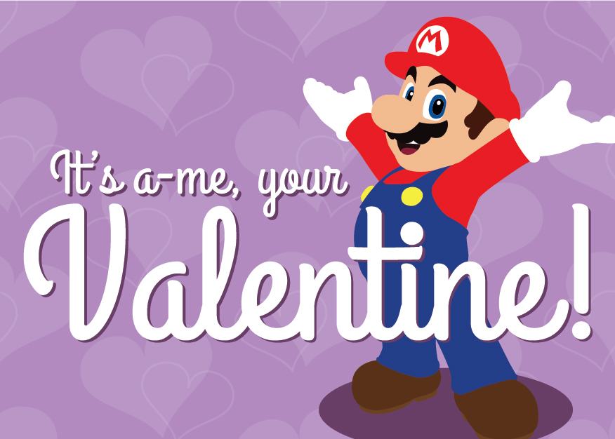 Video Game Heart Containers 19 Printable Valentines for – Mario Bros Valentine Cards
