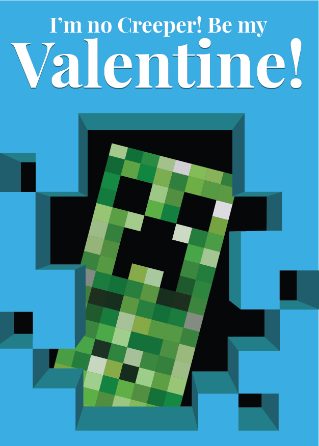 photograph relating to Minecraft Printable Valentines named Online video Activity Middle Packing containers: 19 Printable Valentines for