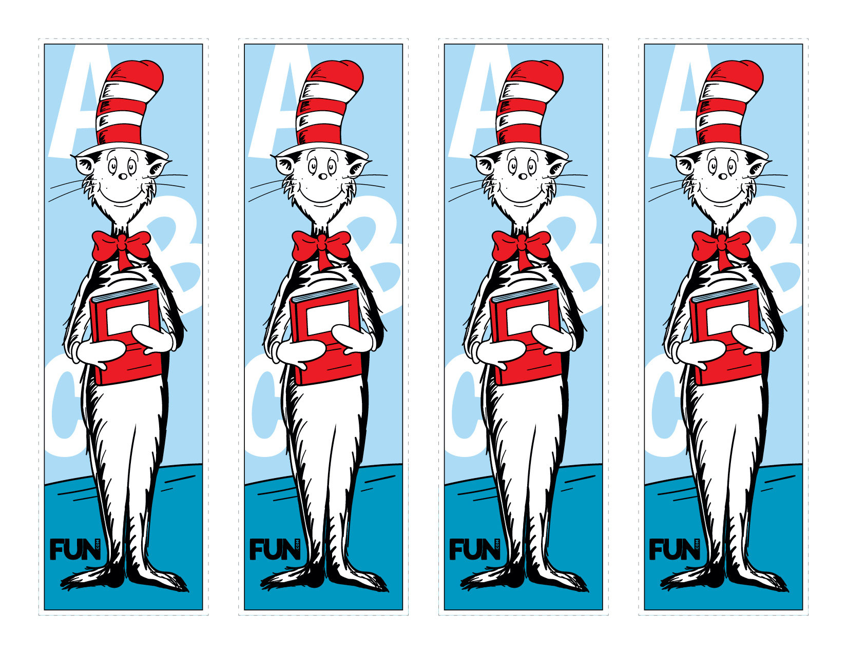Colored Cat in the Hat Bookmark