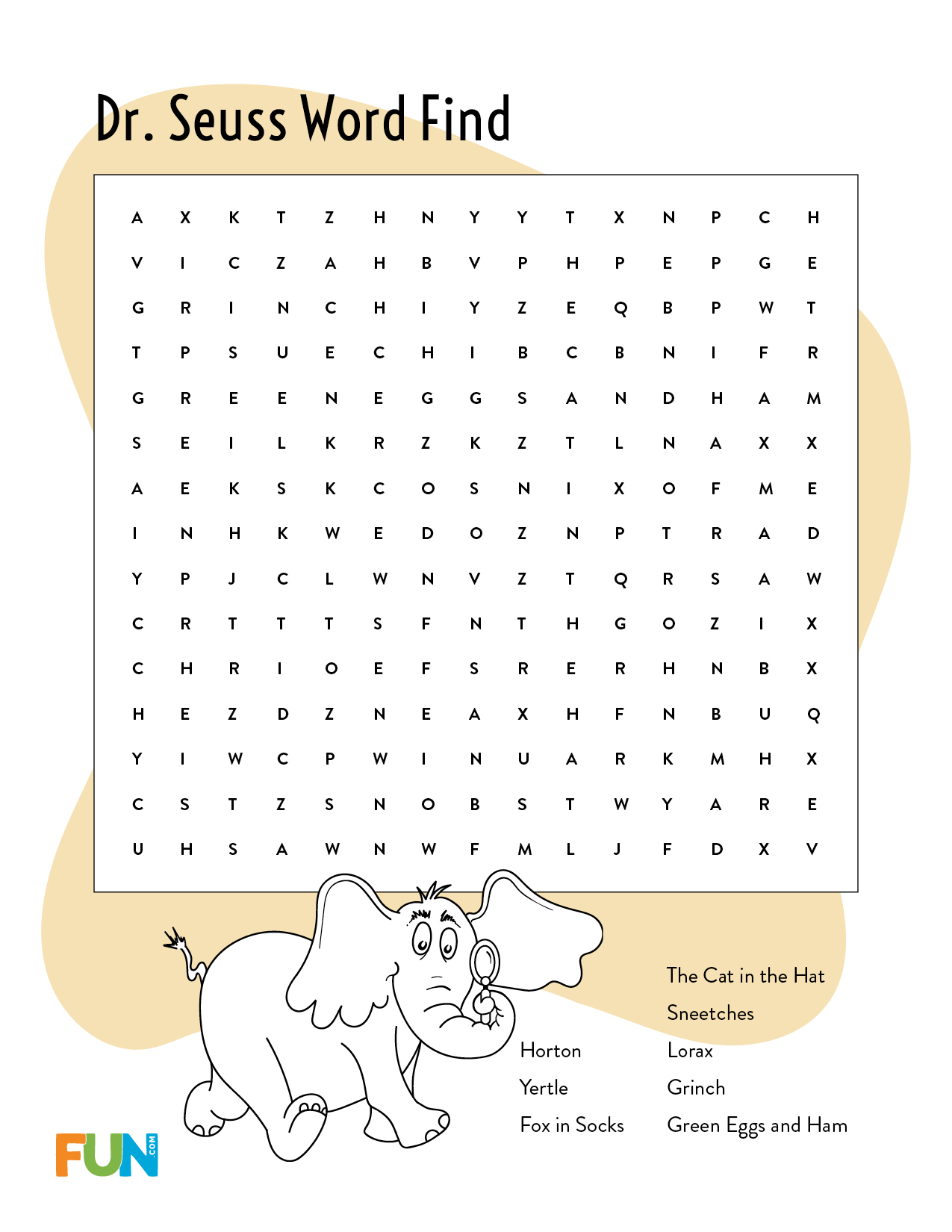 Dr. Seuss Word Find