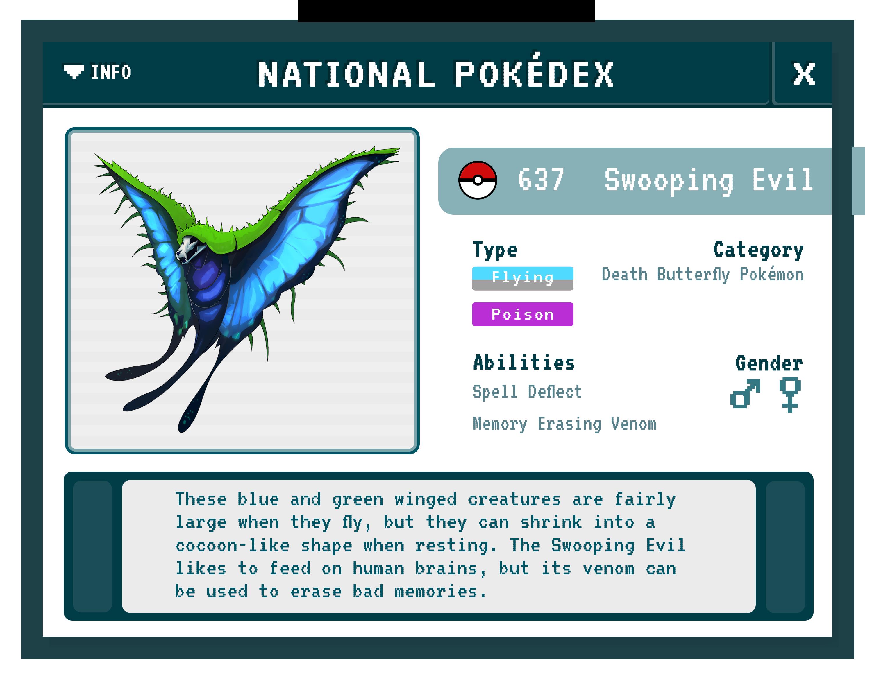Swooping Evil Pokédex (Fantastic Beasts/Pokémon Mashup)