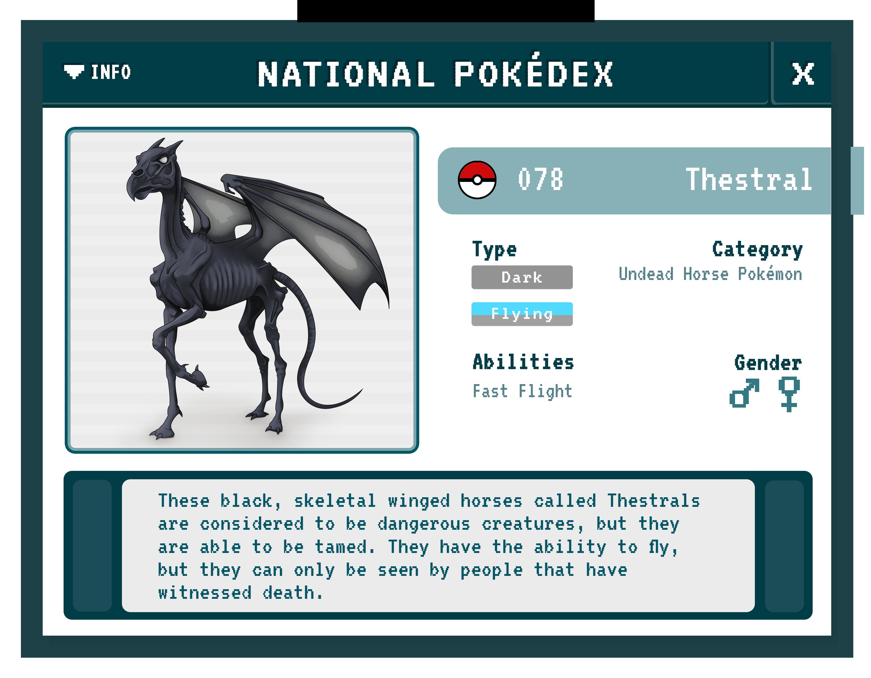 Thestral Pokédex (Fantastic Beasts/Pokémon Mashup)