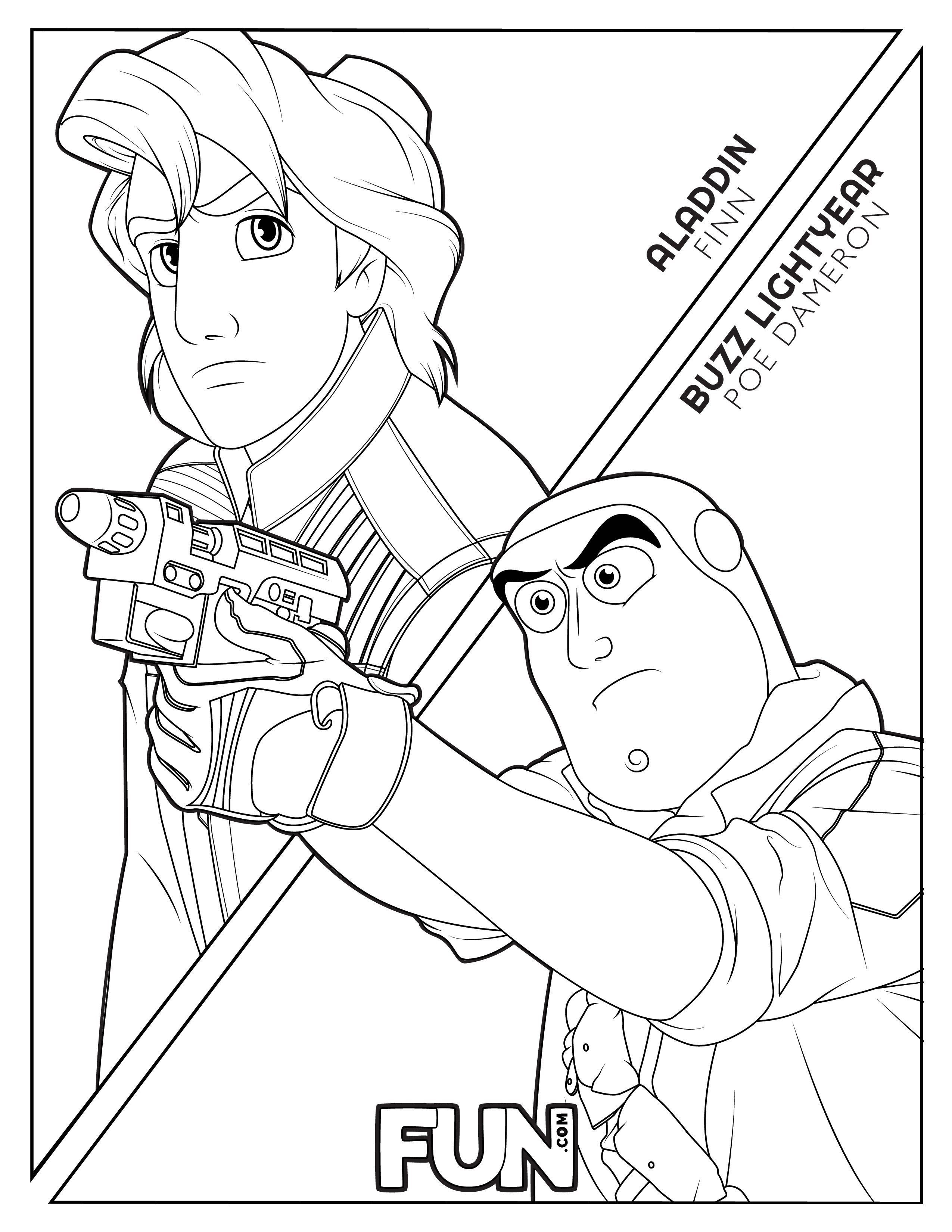 Aladdin Finn and Buzz Lightyear Poe Coloring Page