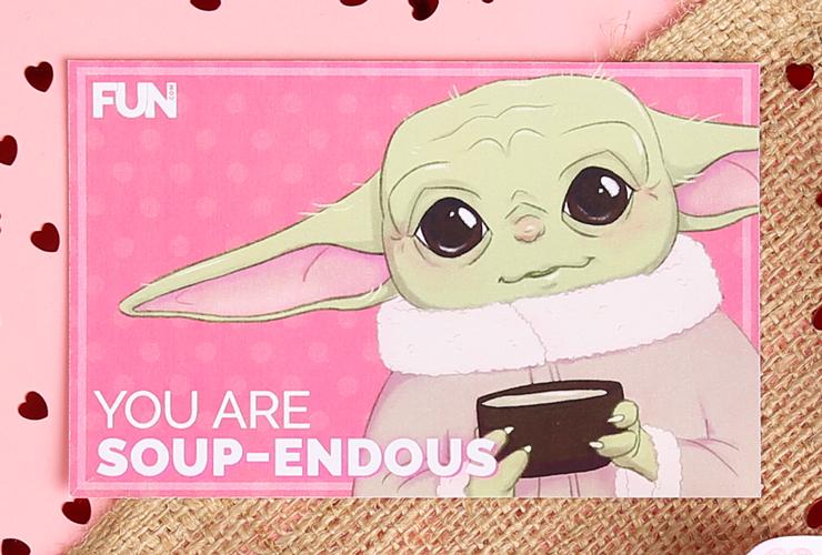 Baby Yoda Valentine's Day Card (Soup Version)