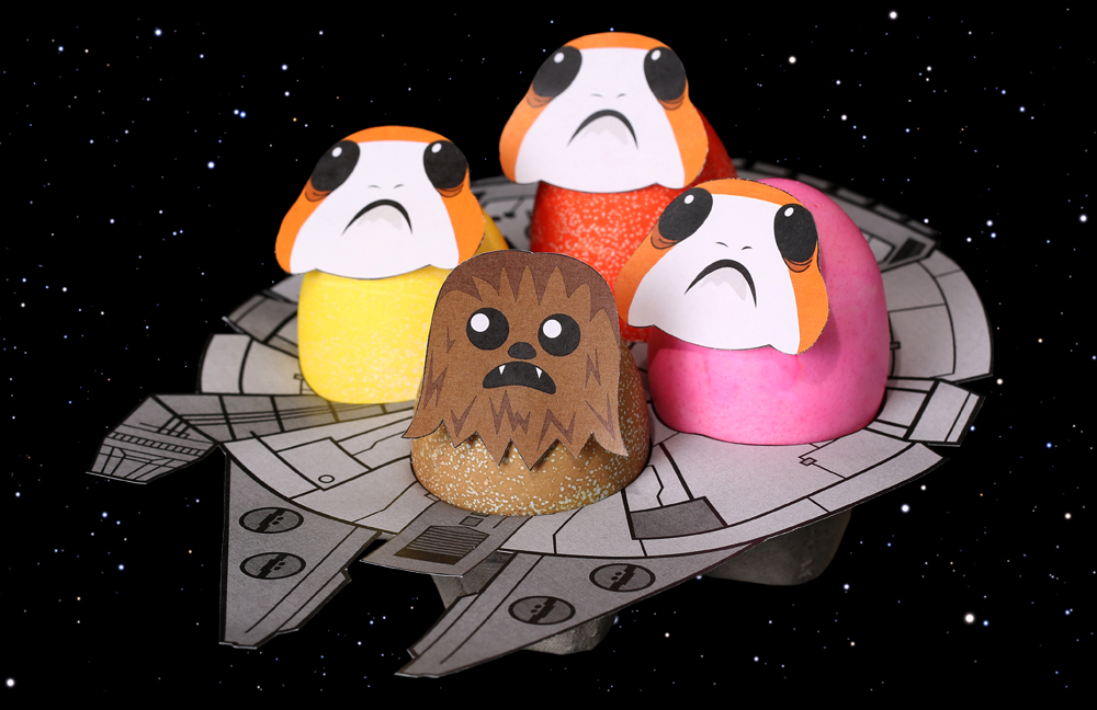 Chewbacca and Porgs as Star Wars Easter Eggs