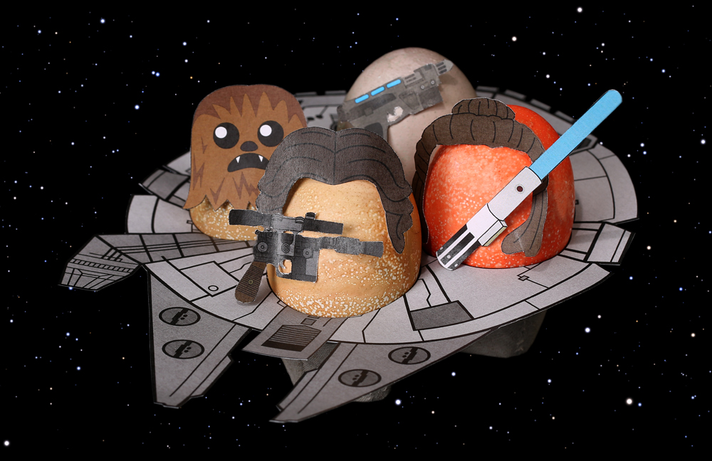 Chewbacca, Han Solo, Finn, and Rey as Star Wars Easter Eggs
