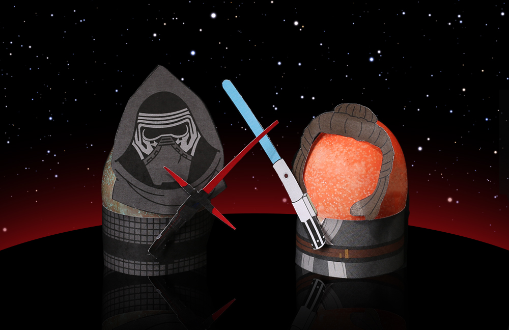 Kylo Ren and Rey as Star Wars Easter Eggs
