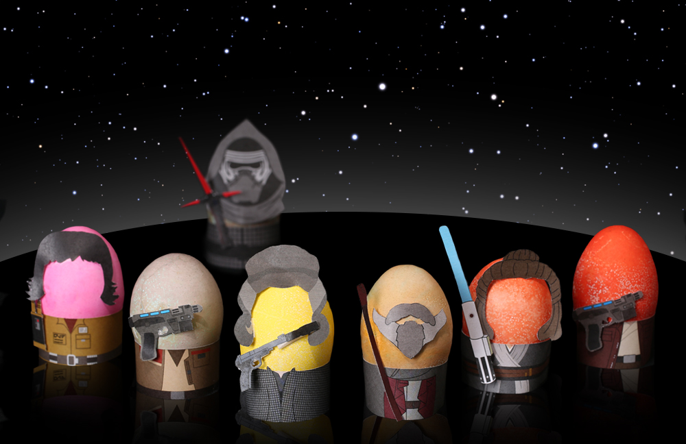 Rose Tico, Finn, Leia Organa, Luke Skywalker, Rey, and Poe Dameron with Kylo Ren as Star Wars Easter Eggs