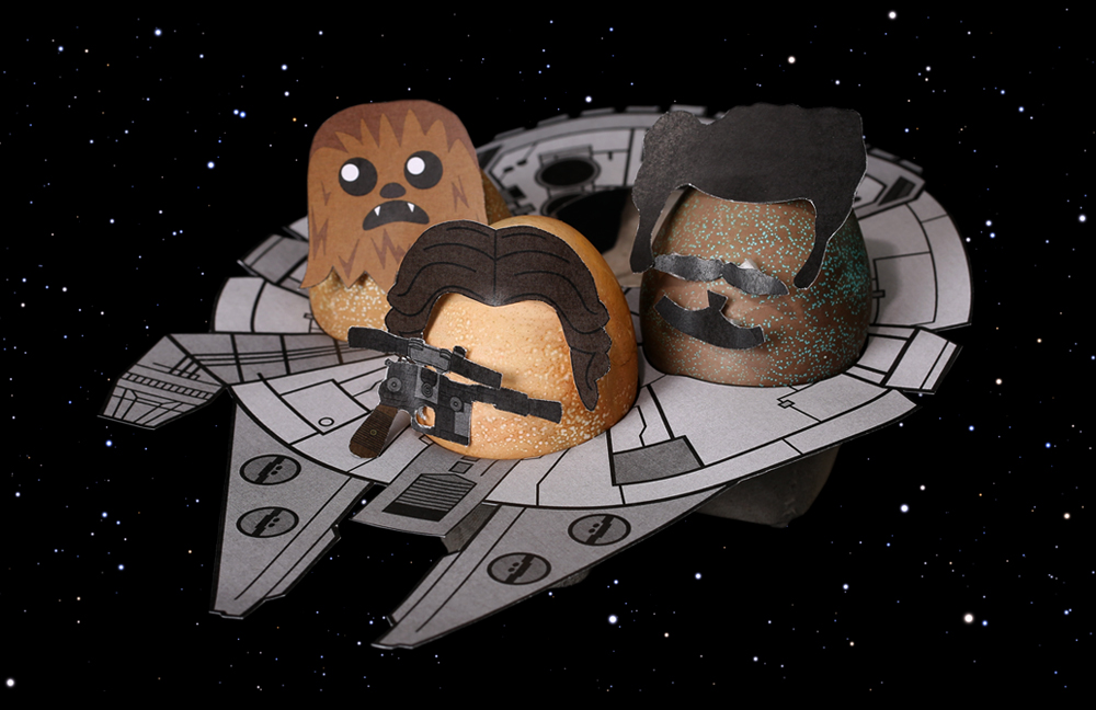 Chewbacca, Han Solo, and Lando Calrissian as Star Wars Easter Eggs