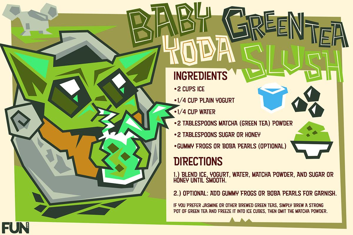 Baby Yoda Green Tea Slush Frozen Drink Recipe Card