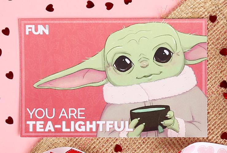 Baby Yoda Valentine's Day Card (Tea Version)