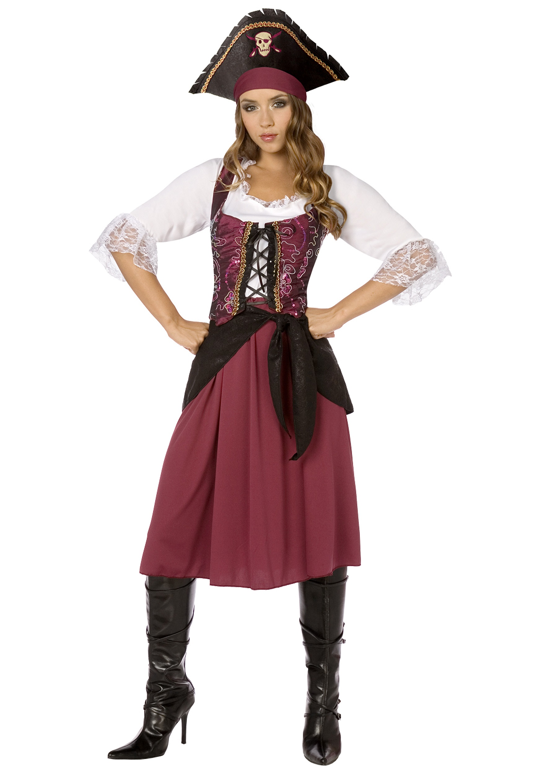 Burgundy Pirate Wench Plus Size Costume  sc 1 st  Fun.com & Womens Plus Size Burgundy Pirate Wench Costume