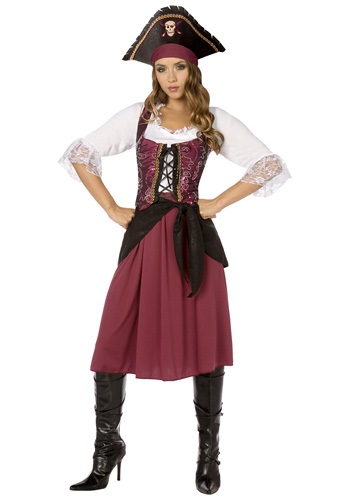 Burgundy Pirate Wench Plus Size Costume