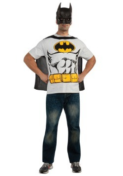 Mens Classic Batman T-Shirt with Cape Costume