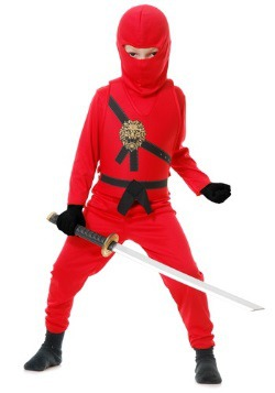 Red Ninja Master Warrior Boys Costume
