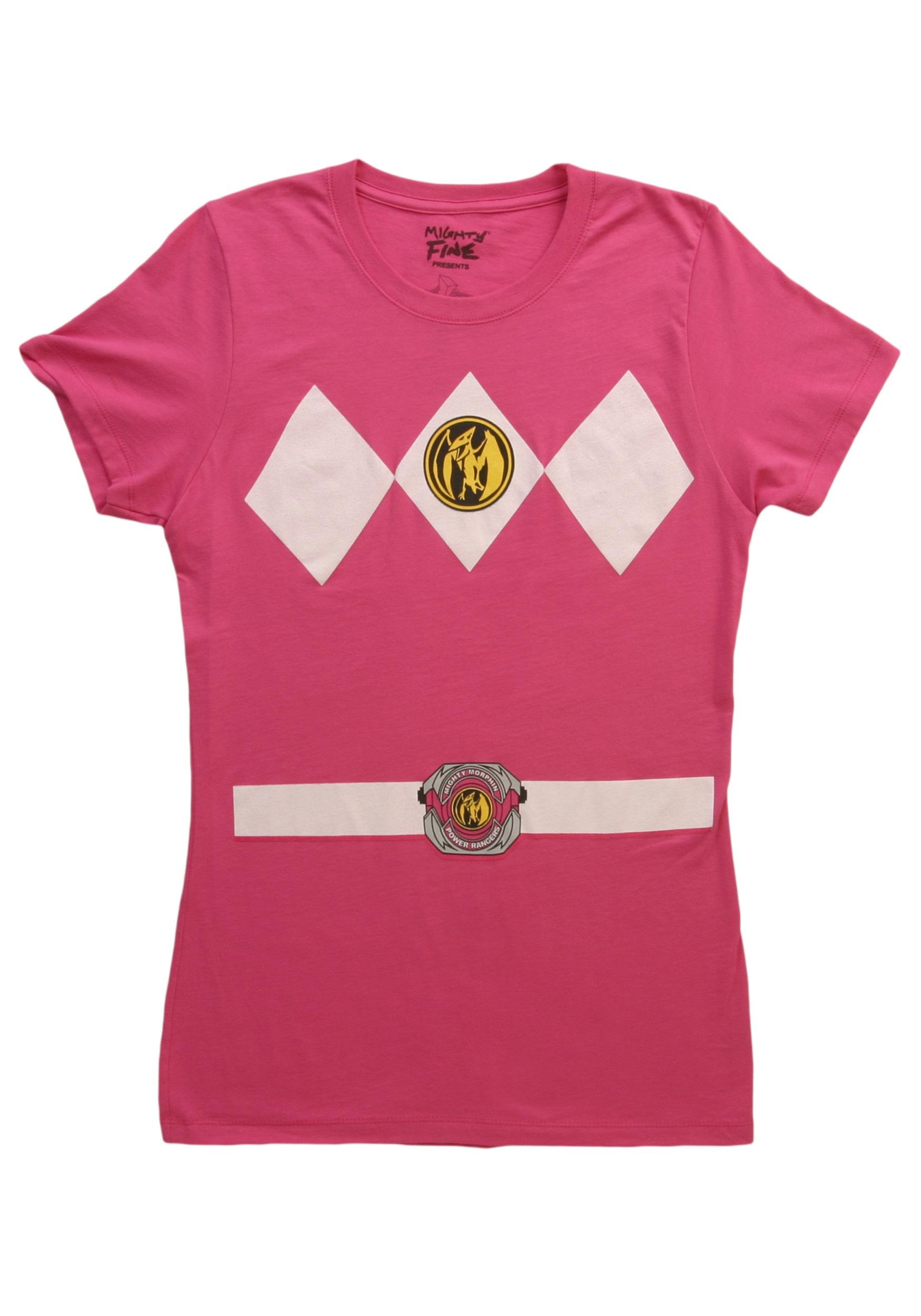 womens pink power ranger costume t shirt. Black Bedroom Furniture Sets. Home Design Ideas
